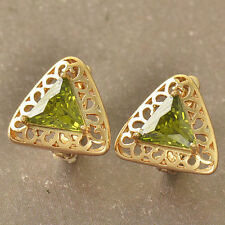 Pretty Unique New Yellow Gold Filled Lime Olive Green CZ Triangle Hoop Earrings