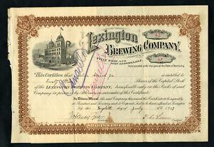 KY. Lexington Brewing Co., 1903 63 Shares I/C  Stock Certificate, Fine-VF
