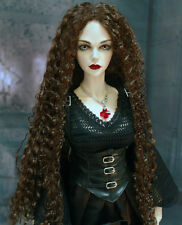 "1/3 bjd 9-10"" doll head brown curly long wig Soom Luts dollfie Loongsoul"