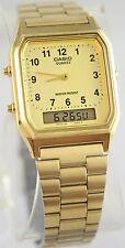 Casio AQ-230GA-9B Men's Gold Stainless Steel Watch Digital Ana Alarm Stopwatch