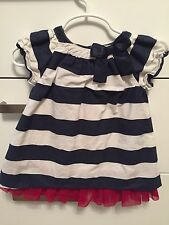 GAP Baby Girl White and Blue Dress Size 6-12 months