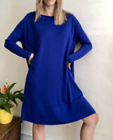 Oversized Wide Jersey DRESS By COS New Size M UK 12 14 Side Pockets Royal Blue
