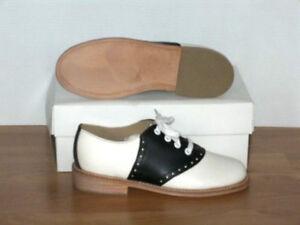Muffy's BLACK/white leather Swing Saddle Shoes Women's sizes 5-12 (330)