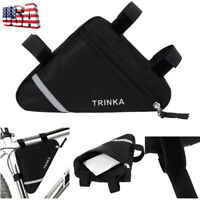 Black Waterproof Triangle Cycling Bicycle Bike Front Tube Frame Pouch Saddle Bag