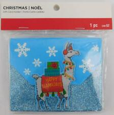 Llama Christmas Blue Glitter Gift Card Holder Snowflakes New
