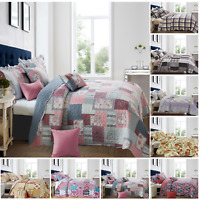 Patchwork Quilted Bedspread Throw Vintage Floral Bedding Single Double King Size