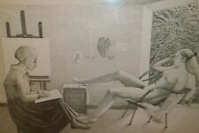 Artist, Nude Model & Interior FABULOUS ink Drawing-1987-August Mosca