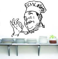 CHEF Decal WALL STICKER Art Home Decor Vinyl Silhouette Funny Kitchen Cook ST39