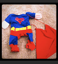Small Dogs Superman costume size 4 w cape & red polo shirt sz small