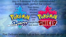 Pokemon Sword & Shield 6IV Battle Ready Shiny Custom Team of 6 Your Choice! Pick