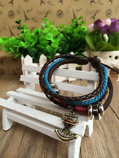 Anime PU leather bracelet of One piece with Luffy's skull sign metal pendant!