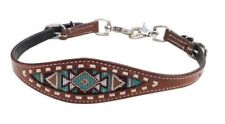 Showman Leather Wither Strap w/ TEAL & BROWN Navajo Beaded Inlay! NEW HORSE TACK