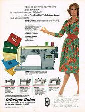 PUBLICITE ADVERTISING 045  1959  FABRIQUE-UNION  les machines à coudre GAMMA