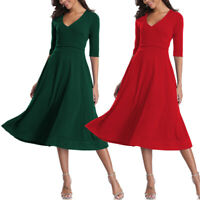 Women Half Sleeve V Neck Vintage 1950's Casual Party Cocktail Midi Long Dresses