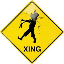 "Fisherman Crossing Xing 12"" Metal Sign Fun Novelty Fishing Angler Embossed Decor"