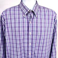 Peter Millar Mens Purple Plaid Cotton Long Sleeve Button Down Shirt Size XL