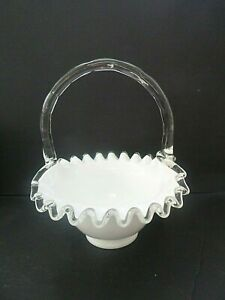 Vintage Fenton White Milk Glass Silver Crest Basket Candy Dish Bamboo Signed