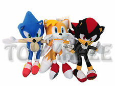 "SONIC THE HEDGEHOG X TAILS & SHADOW PLUSH SET! 3 PC SOFT DOLL TOYS SEGA 10"" NWT"