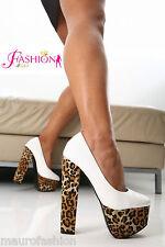 Sexy Scarpe donna decolte plateau HOTWALK Bianco  Leopardato tacco 16 extrem 39