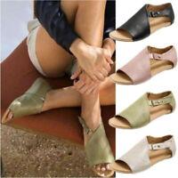 Women Lady Flat Gladiator Sandals Summer Beach Open Toe Leather Shoes Flip Flops