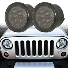 Front Amber Smoked LED Turn Signal Lights Assembly for 07-16 Jeep Wrangler