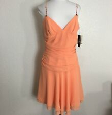 4acac6efa2f2 ABS Allen Schwartz Womens Dress Size 10 Party Formal Peach Rhinestones  Strappy
