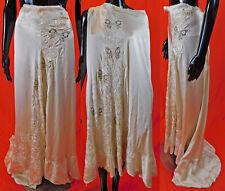 Victorian Antique Duchesse Bobbin Lace Butterfly Silk Embroidered Wedding Skirt