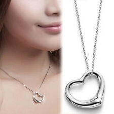 Fashion Women Silver Open Heart Pendant & Chain Necklace S925 Sterling Silver