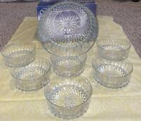 Vintage ** Arcoroc Cavalier 7pc Salad Bowl Serving Set  Clear Glass France w/box
