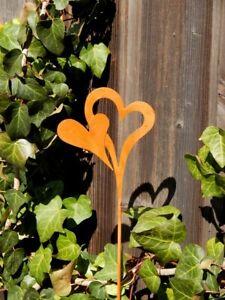 Dekostab Herz verbunden Herzen Liebe Metall-Stab Roststecker Herzstecker Herbst