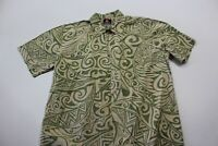 Quiksilver Greenish Tan Tribal CAMP SHIRT large L