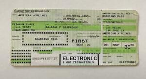 Mike Tyson Airline Ticket to Fly to his Training Camp for the Lewis Fight Leg 1