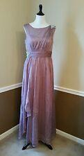 Modcloth Formal Maxi Dress 12 Mauve Gown Rhinestones Bedraped Goddess $209