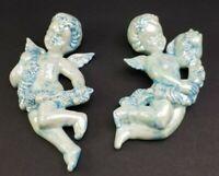 Vintage Handpainted Ceramic Cherub Wall Hanging Angels Blue White Luster