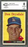 Don Drysdale Card 1958 Topps #25 Los Angeles Dodgers BGS BCCG 8