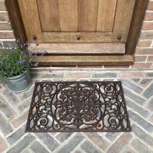 Ornate Cast Iron Indoor & Outdoor Doormat Entrance Non Slip (70cm x 44cm)