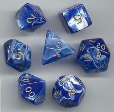 NEW RPG Dice Set of 7 - Marble Blue D4 D6 D8 D10 D12 D20 D00-90