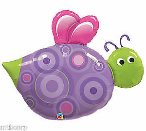 "Jumbo 39"" Pink & Purple Dots Insect Bee BUG Garden Birthday Party Balloon"