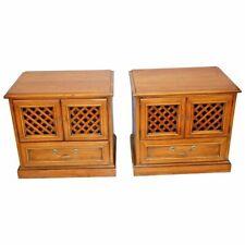 Vintage Drexel Esperanto Pair Matching Nightstands Bedside Chest cabinet Walnut