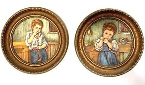 Lot of 2 ARTINI Engraving of Boy & Girl Twin Etched 4-D Round Framed Plaques