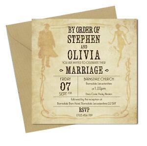 Personalised PEAKY BLINDERS WEDDING Invites Pack of 10 with envelopes 150x150mm