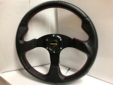 Momo steering wheel carbon fibre alum 350mm flat BLACK/RED/SILVER/BLUE racing