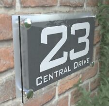 CONTEMPORARY HOUSE STREET DOOR NUMBER PLAQUE PERSONALISED ACRYLIC ParA4-10WA