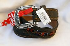 NWT Tony Lama Southwest Poncho Fabric & Leather Belt Sizes 36 $79