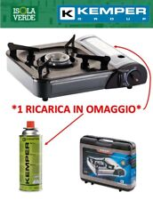 KEMPER SMART FORNELLO A GAS PORTATILE PER CAMPEGGIO PRATICO CON VALIGIA 1 CARTUC