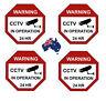 CCTV Camera Warning Stickers, Surveillance Vinyl Decal, Video Security Sign X4