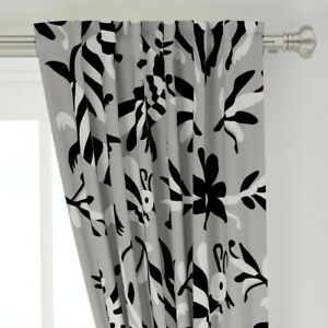 """Striped Animals Black And White Mexican 50"""" Wide Curtain Panel by Roostery"""