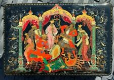 ANTIQUE RUSSIAN LACQUER PALEKH PAPER MACHE painted in 1947 artist A. Khokhlova