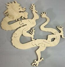 "Large Wooden Chinese Snake Lucky Dragon 3D 12"" Jigsaw Puzzle 10 Piece Wood Rare"