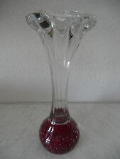 Große Murano Design Glasvase mit roten Farbeinschmelzungen und Luftblasen(A391)